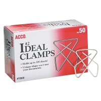 "Acco Brands Small (1-1/2"") Steel Wire Ideal Clamps - Silver (Box of 50)"