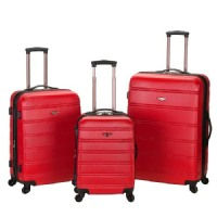 Rockland Melbourne 3 Piece Expandable ABS Spinner Luggage Set - Red