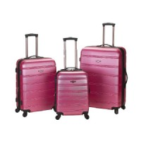 Rockland Melbourne 3 Piece Expandable ABS Spinner Luggage Set - Pink