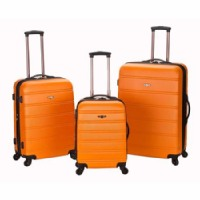 Rockland Melbourne 3 Piece Expandable ABS Spinner Luggage Set - Orange