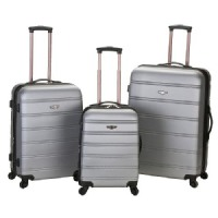 Rockland Melbourne 3 Piece Expandable ABS Spinner Luggage Set - Silver