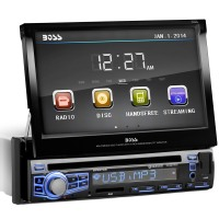 BOSS AUDIO BV9976B Bluetooth Stereo DVD Receiver Single-DIN 7 Flip-Up