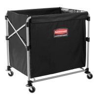 Rubbermaid Janitorial Carts Executive 8-Bushel Collapsible Basket X-Cart Black 1881750