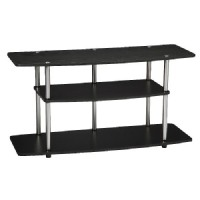 Convenience Concepts 3-Shelf TV Stand: Tv Stand: Convenience Concepts 3-Tier Entertainment TV Stand - Black