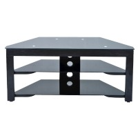 Convenience Concepts Tv Stand: Convenience Concepts Wood and Glass TV Stand - Black
