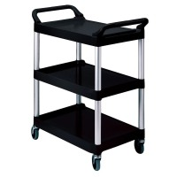 Rubbermaid Commercial Products Utility Carts: Rubbermaid Commercial Products Service Carts 200 lb. Holding Capacity Utility Cart with Swivel Casters in Black FG342488BLA