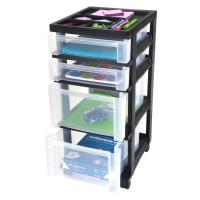 Iris Storage Cart: Iris 4-Drawer Cart 1Pc - Black/Clear