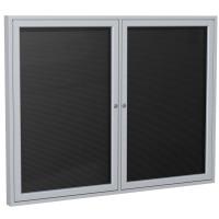 Ghent 2-Door Aluminum Frame Outdoor Enclosure Vinyl Letterboard - Black