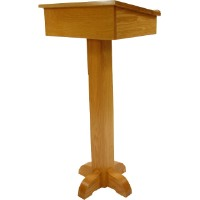 Executive Wood Products Oak Pedestal Speakers Stand