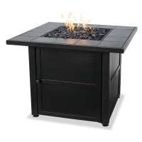 UniFlame Outdoor Fire Pits Slate Tile Propane Gas Fire Pit Gray GAD1399SP