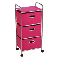 Honey-Can-Do Storage Drawers: Honey-Can-Do 3-Drawer Rolling Cart - Chrome/Pink