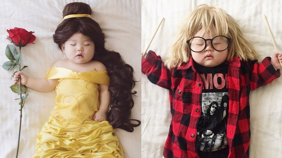 This adorable napping baby has no idea her mom is dressing her in incredible costumes