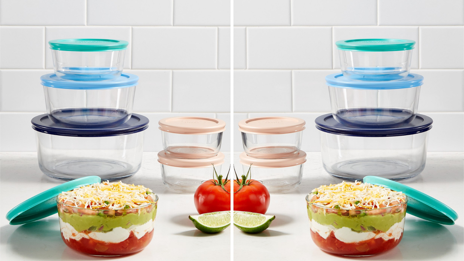 Keep your food fresh with this versatile. 12-piece storage set from Pyrex.